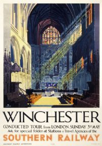 Vintage travel poster - Winchester Cathedral, Southern Railways